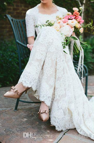Vintage 2018 Full Lace Wedding Dresses Square Half Sleeves Buttons Back Country Bridal Wedding Gowns Long Sweep Vestidos