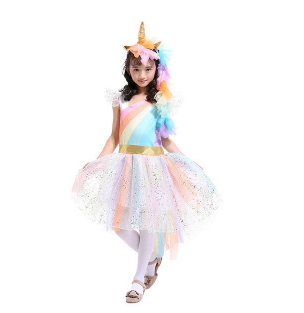 Girls Dress Unicorn Rainbow Dress Unicorn Headband + Angel Wings +Lace Tutu Girls Princess Dress Suits Cosplay Clothing Sets
