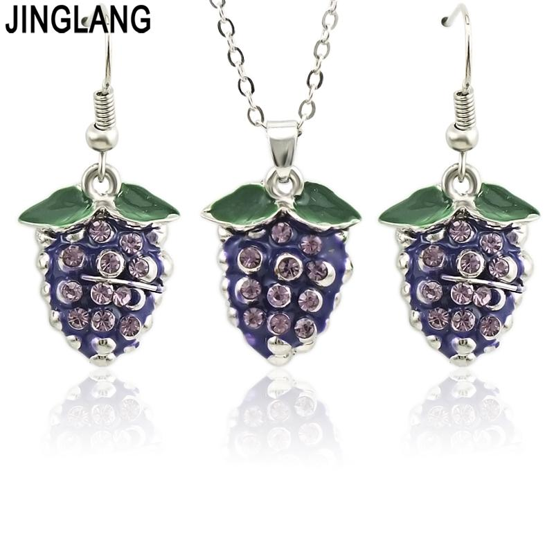 Jewelry & Accessories 925 Silver Grapes Beads Pendants Necklace Earrings Women Jewelry Sets