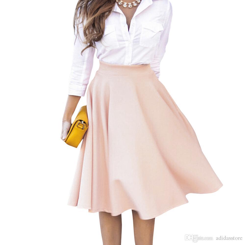 53488fb40b8f Frauen Perfect Peach Pink Falten A-Linie Saias Femininas Ausgestellt Hohe  Taille Midi Skater Rock S-XL Auf Lager Schnelllieferung