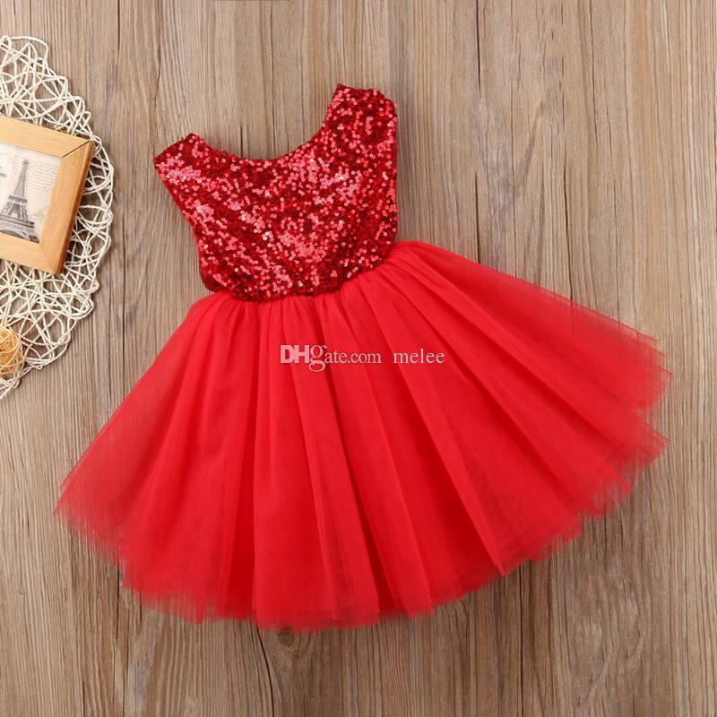 INS 여름 새 여자 스팽글 거즈 투투 드레스 둥근 목 민소매 조끼 파티 드레스 블링 투투 공주 여자 파티 드레스 레드 핑크