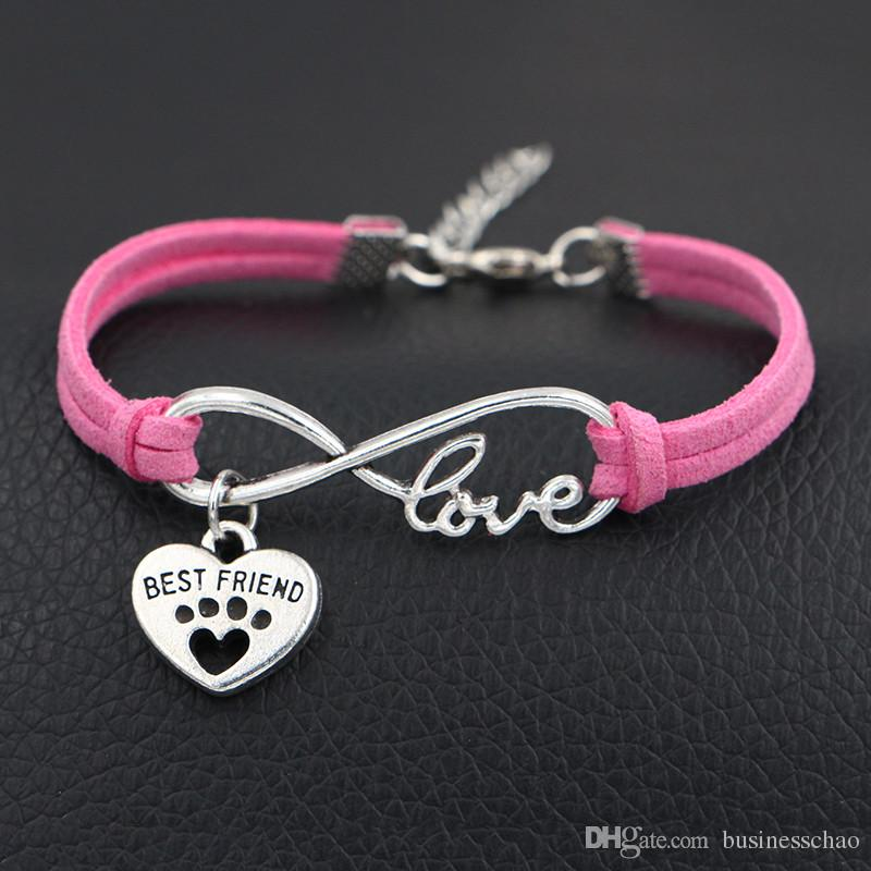 Simple Charm Bracelet Hot Pink Leather Minimalist Adjustable Rope String Lucky Bangles Infinity Love Dog Claw Paw Best Friend lovers jewelry