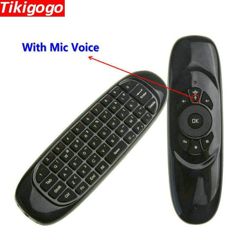ff1b636e457 Tikigogo C120 2.4G Wireless Gyro Air Mouse Mic Microphone Voice Mini  Keyboard For Android Smart TV Box Windows PC Remote Control Xboxs 360  Remote ...