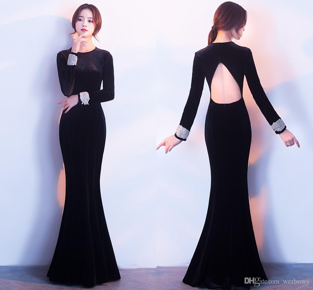 2018 Elegant Black Long Tail Winter Evening Dresses T Shirt Fashion ...