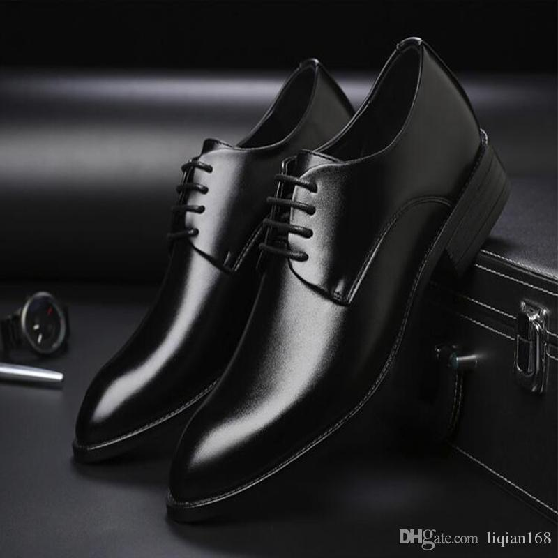 91ac051eff Compre Zapatos De Vestir Formales Para Hombres Oxford Zapatos De Cuero Para  Hombres Con Cordones Zapatos Con Cordones Para Hombres Estilo Británico  Marrón ...