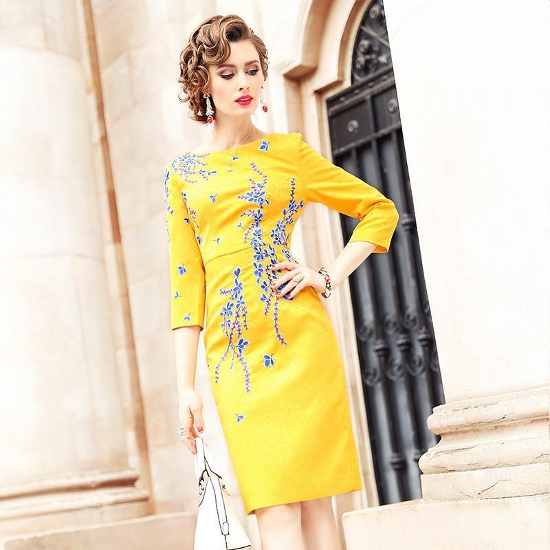 54f94bfc1 Compre Outono Escritório Lady Vestido Amarelo 2018 Nova Qualidade Superior Mulheres  Roupas Partido Floral Vestido Plus Size 3xl Inverno Do Vintage Vestidos ...