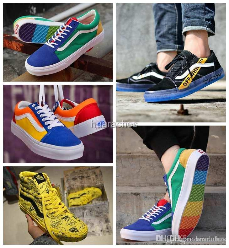 93a933dc8e5423 2018 New Old Skool Rainbow PEANUTS Running Sneakers Casual White Designer Colorful  Soles Mens Women Fashion Skate Shoes Trainers Off Zapatos Old Skool ...