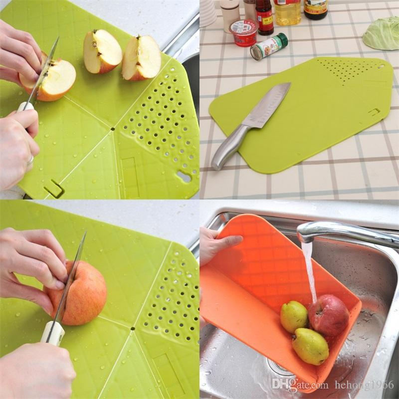 Plastic Chopping Block Multi Function Creative Portable Small Pad Mat Kitchen Tool Foldable Board Free Shipping 4 9rh V