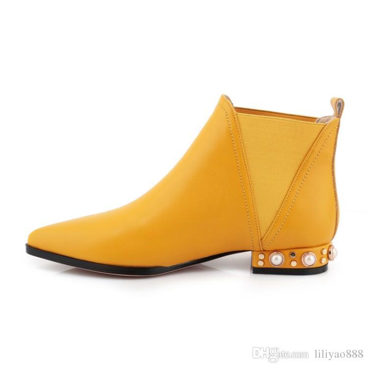2017 뉴 리벳 앵클 부츠 로우 힐 여성화 뾰족한 발가락 미끄럼 방지 부츠 파티 마틴 부츠 고품질