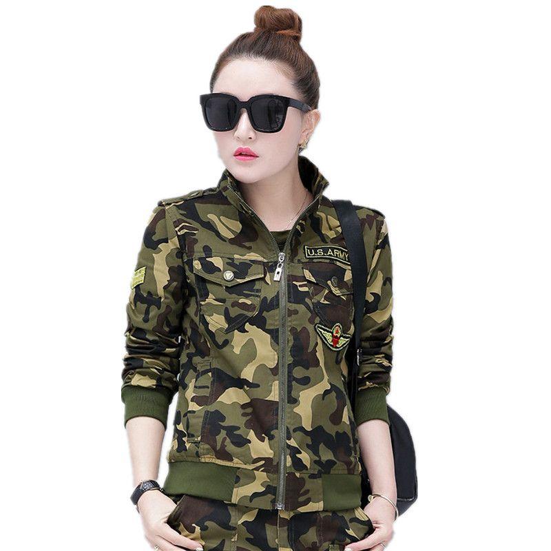 fd572da41379f Autumn Uniform Green Bomber Jackets Women Plus Size Army Camouflage ...