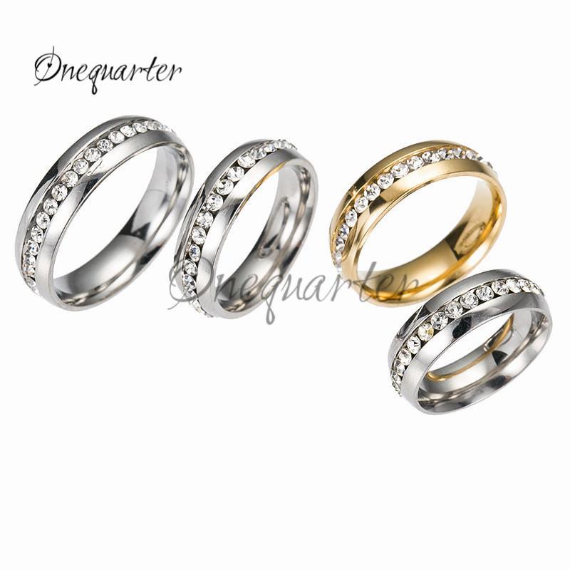 Grosshandel Mode Verlobungsring Gold Und Silber Elegant Einreihige