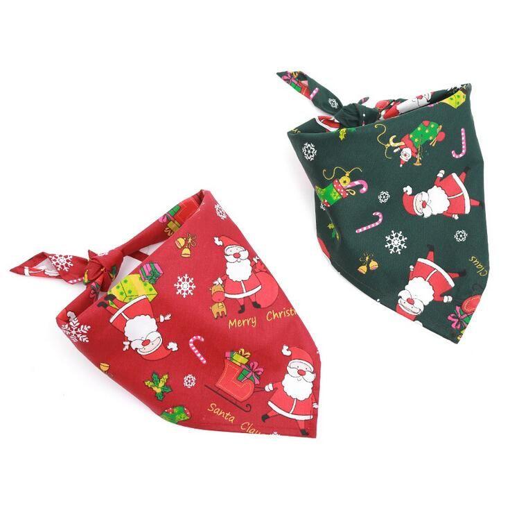 New Christmas pets scarf fashion head scarf neckerchief pets bandanas collar scarf bow tie cotton cats dogs supplies