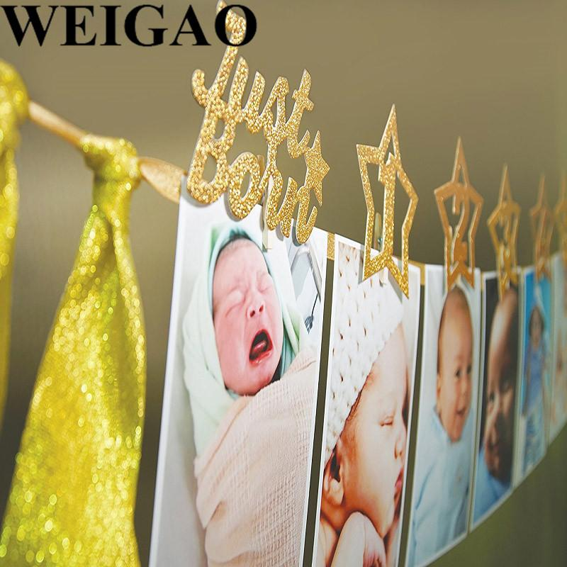 WEIGAO Happy Birthday Photo Banner Birthday Party Decoration DIY Monthly Paper One Year Old Baby Photo Album Decor Supplies