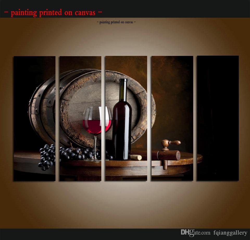 Satın Al Büyük 5 Panel Modern Soyut üzüm şarapları Meyve Boyama
