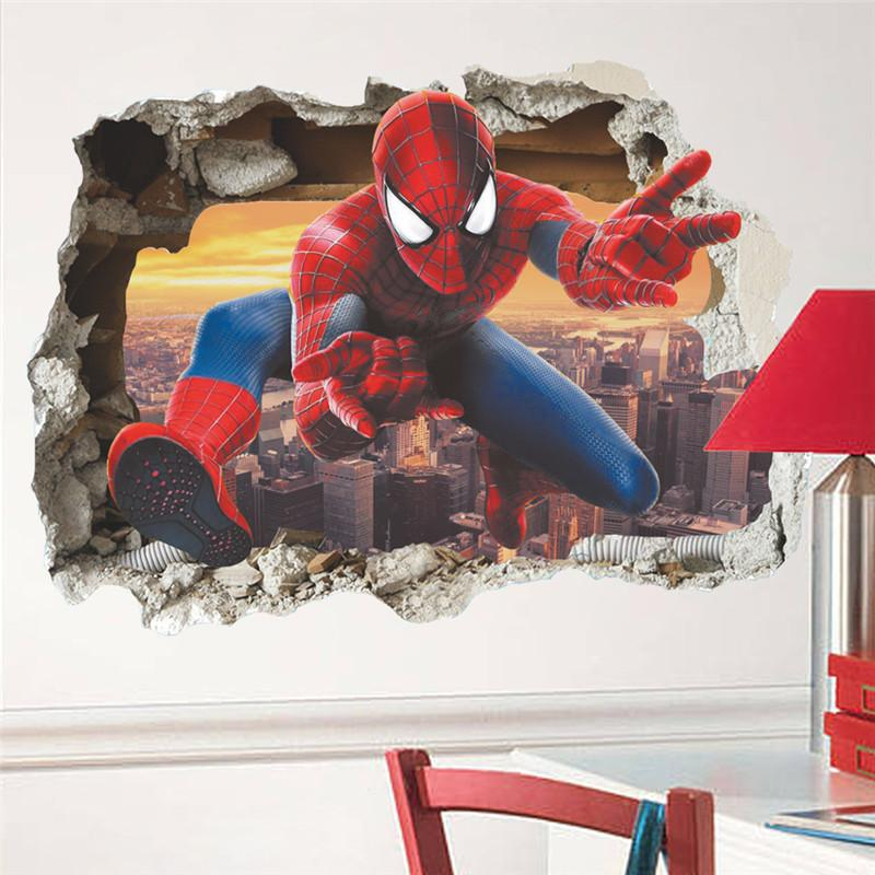 stickers for Children's Hero Spiderman Stickers For Rooms Decals Home Decor Kids Nursery 3D Broken Wall Decals