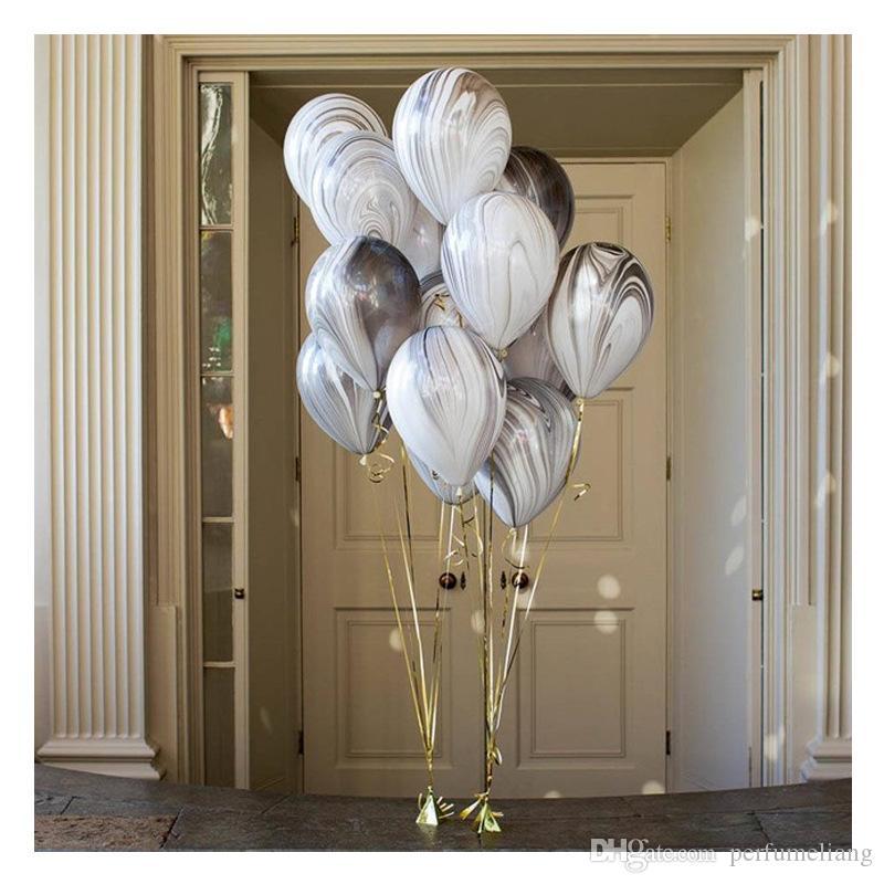 3.2g Düğün Dekorasyon için Akik Mermer Balonlar Renkli Lateks Hava Baloes Doğum Günü Partisi Malzemeleri 12 inç ZA6568