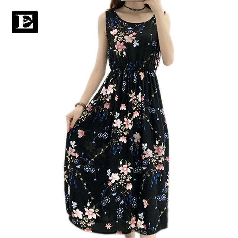Satın Al Kadın Kolsuz şifon Elbise Uzun Güzel Yaz Elbiseler Festa