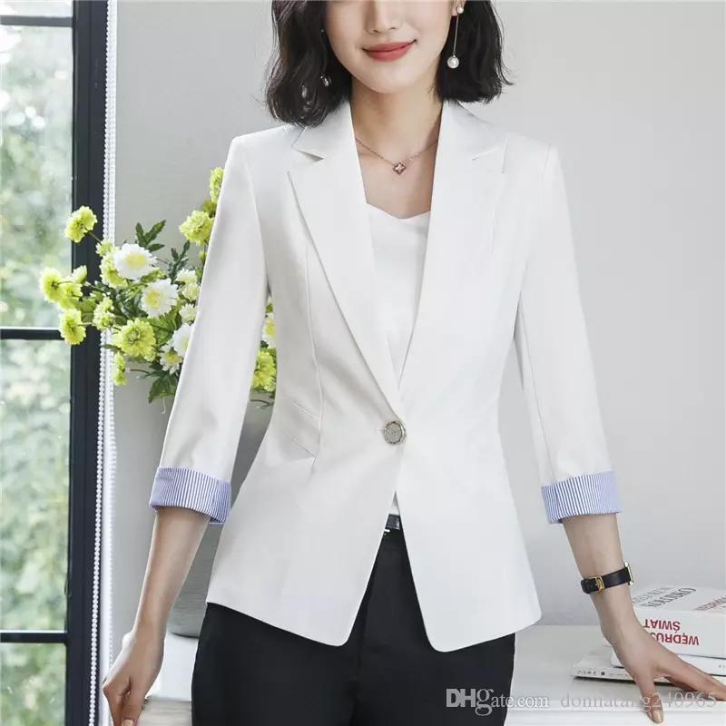 ce6abbb0545f 2019 Women Single Button Blazer 2018 Hot Sales Jacket Female Plus Size Work  Office 3 4 Sleeves Zipper Women Jacket Coat Outwear From Dujotree