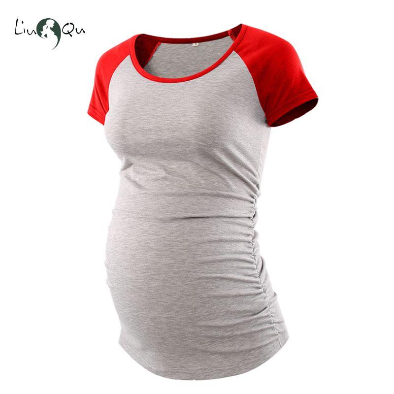 7137908a65a03 Maternity Clothes Baseball Crew Neck Raglan Sleeve Side Ruched Maternity T Shirts  Top Pregnancy Shirt Pregnant T Shirt Ropa Tees Cheap Tees Maternity ...