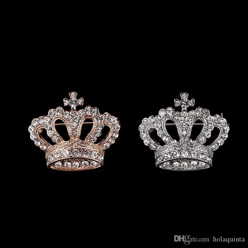 Gold Fashion Rhinestone Crystal Luxury Imperial Crown Brooches Pin Corsage