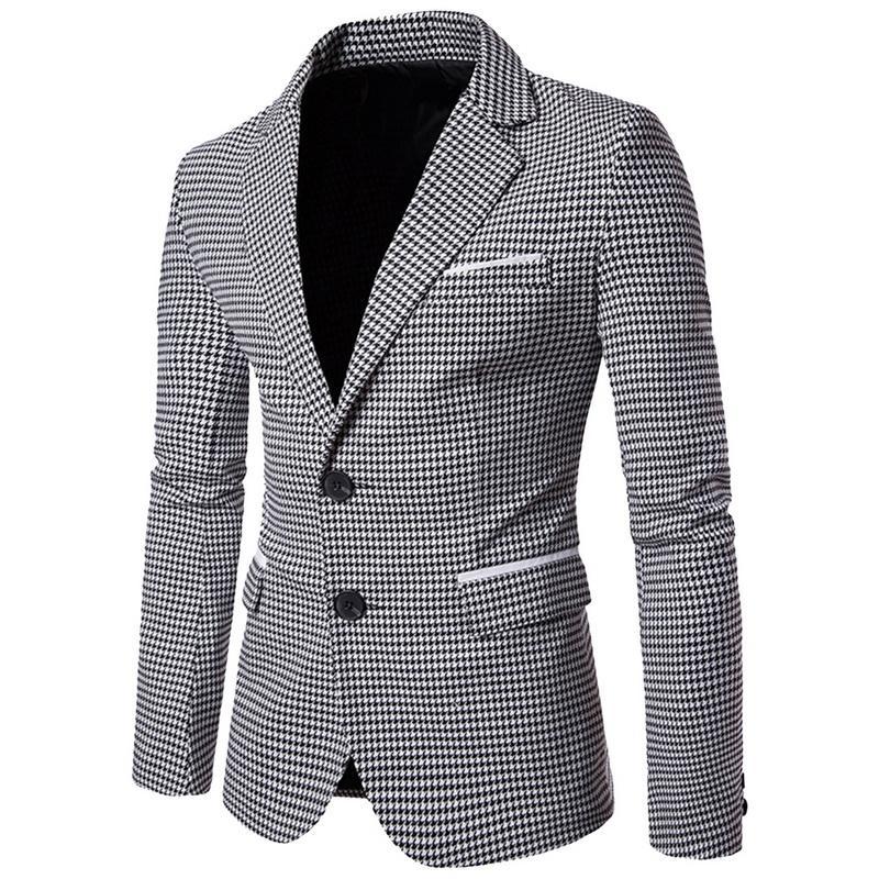 c63a3549e17c2 Acquista NIBESSER Casual Plaid Print Uomo Blazer Moda Manica Lunga Abito Da  Sposa Cappotto Autunno Bianco Affari Sociali Mens Giacca Sportiva A  31.31  Dal ...