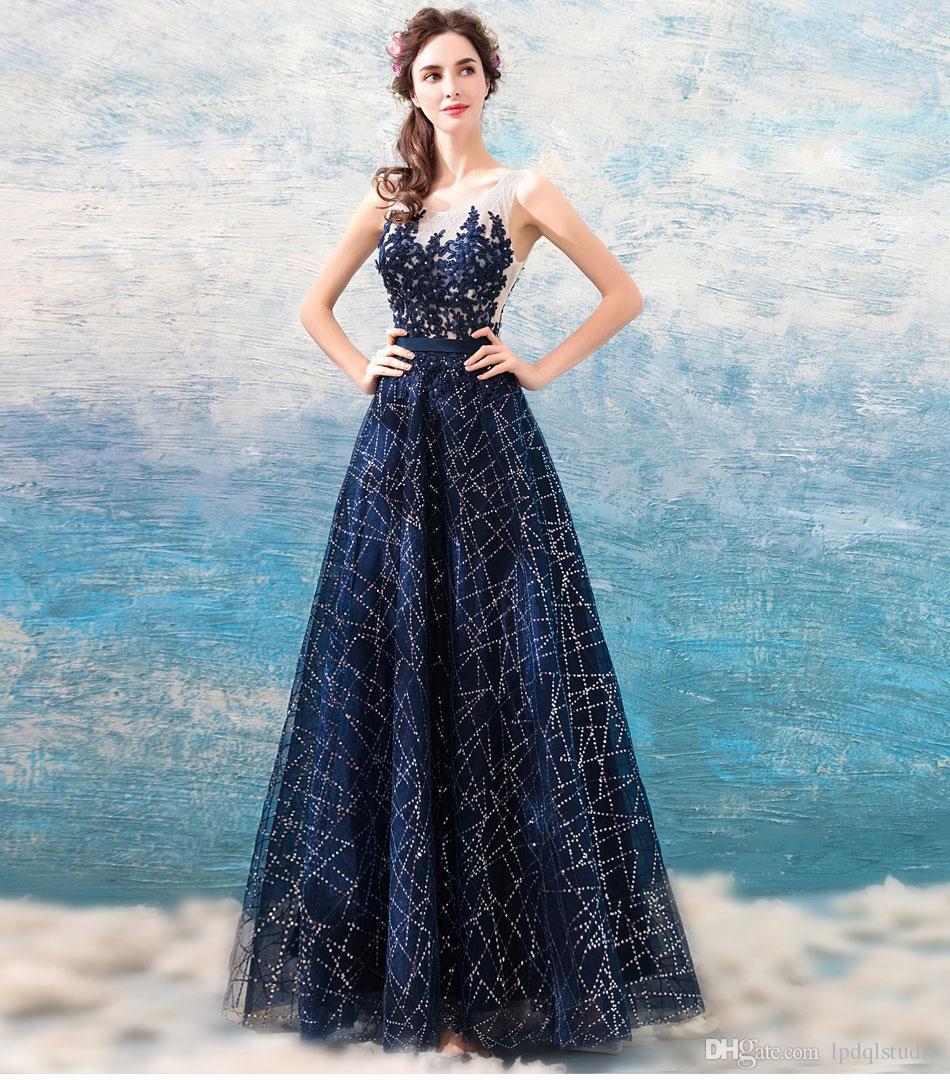 Stunning Navy Blue Evening Dresses Long Prom Dresses Sheer Neckline ...