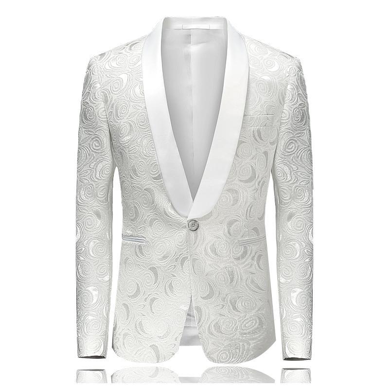 2018 White Jacquard Men s Blazer Jacket Size S , 4XL Fashion Business  Wedding Banquet Man Suit Coats Slim EleComfort