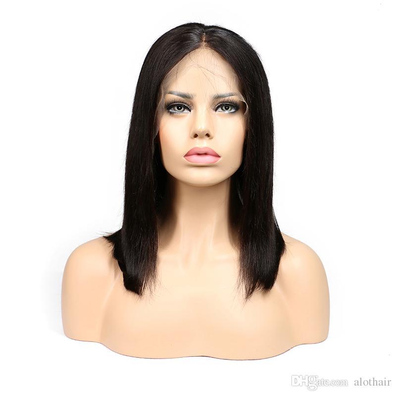 Parrucche corte del merletto del fronte del merletto parte centrale 10 parrucche diritte brasiliane diritte dei capelli di 12 pollici le estensioni brasiliane dei capelli umani delle donne nere