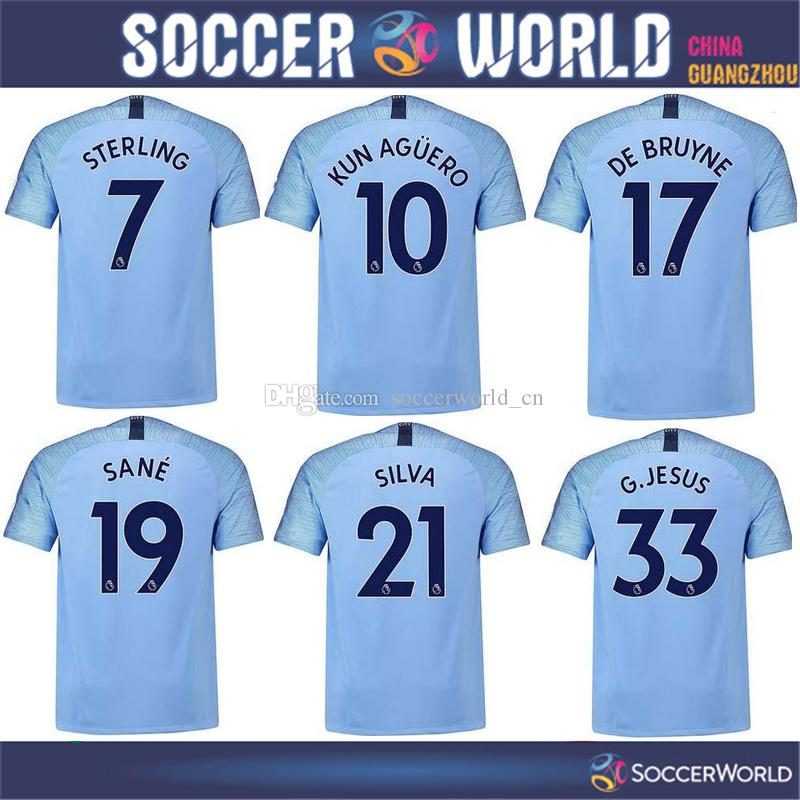 Camisetas De Fútbol De Calidad Superior Manchester City Home 2018 19   10  KUN AGUERO Camiseta De Fútbol 2019   17 DE BRUYNE 33 G.JESUS Uniforme De  Fútbol ... 3d1e105884ef9