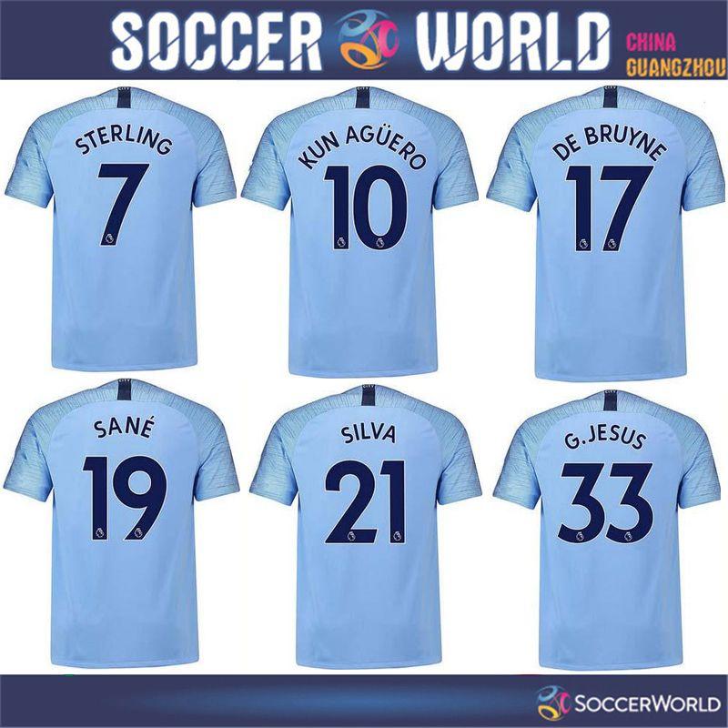 Compre Top Qualidade Camisas De Futebol De Manchester City Home 2018 19    10 KUN AGUERO Camisa De Futebol 2019   17 DE BRUYNE 33 G. JESUS Uniforme De  ... 7ca70d3d28d81