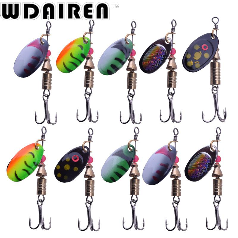 10/lot 5.5g 3.5g Fishing Lure Hook Spinner Spoon Lures Rotating Metal Sequins Bait Hooks Peche Jig Anzuelos De Pesca WD-408