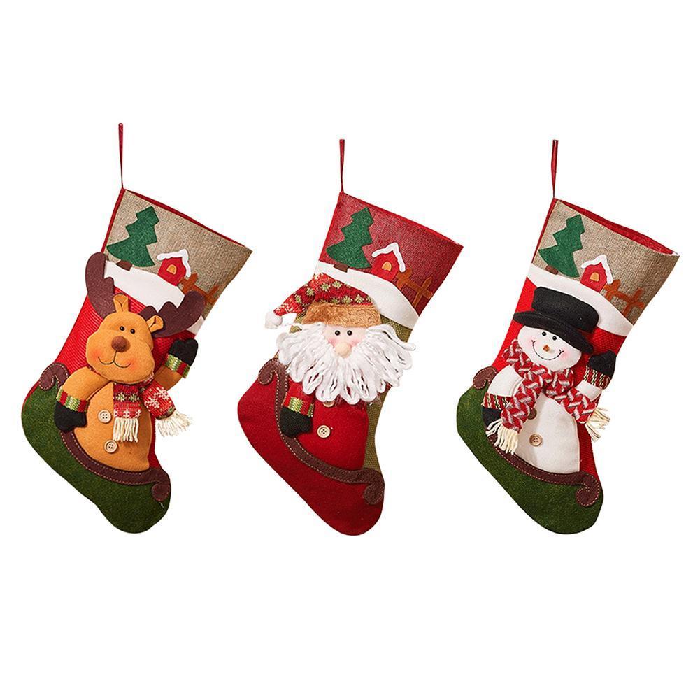 2018 christmas stocking santa claus sock gift bag kids xmas decoration candy bag bauble christmas tree ornaments supplies unique christmas decorations - Unique Christmas Stockings