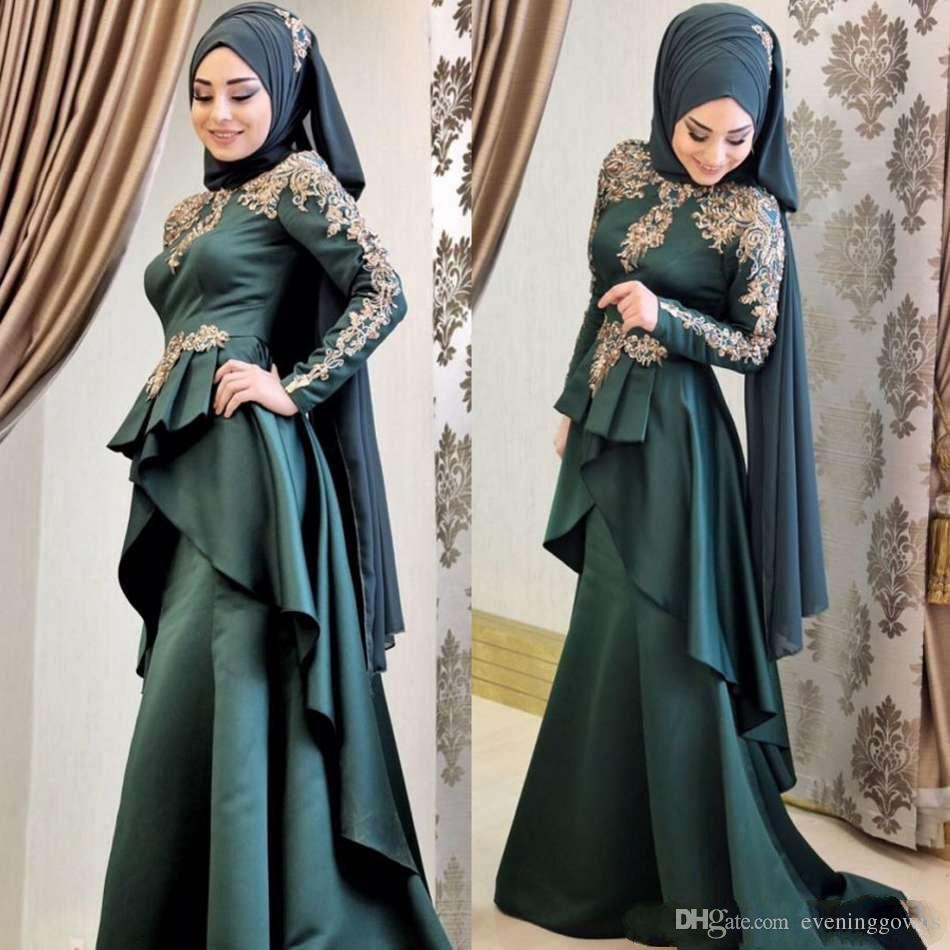 Latest 2019 Muslim Prom Dresses Lone Sleeve Gold Lace Applique Ruffles Peplum Mermaid Evening Gowns Satin Sweep Train Formal Dress