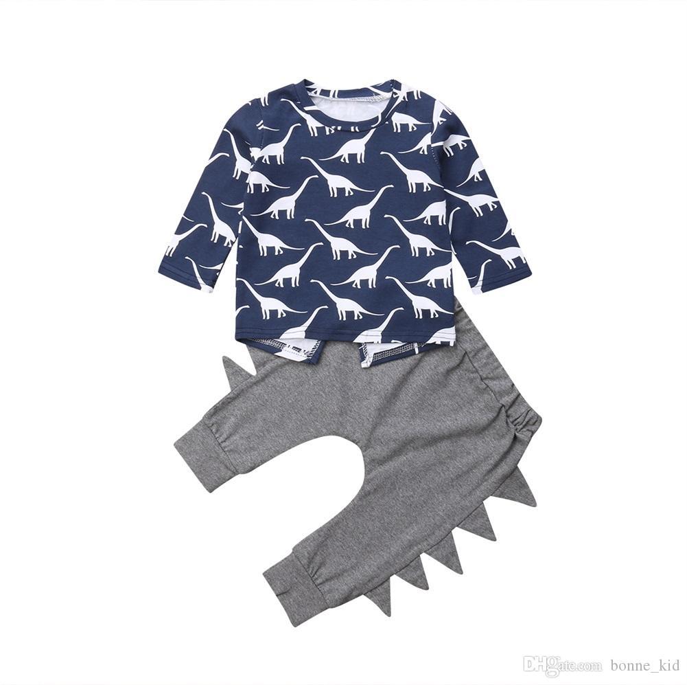 81b49cba2 2019 Newborn Kids Baby Boys Dinosaur Top Pants Set Outfits Long Sleeve  Infant Baby Boy Pajamas Toddler Clothes Animal Kid Clothing 0 24M From  Bonne_kid, ...