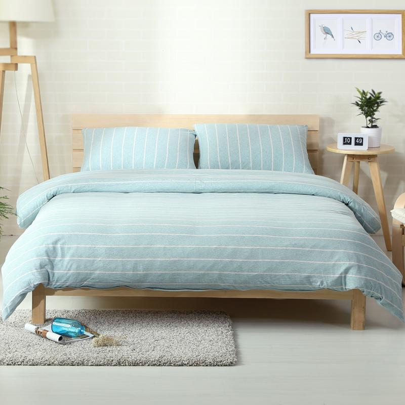 2018 Lines Light Blue Bedding Set Knit Cotton Bedlinens Twin Queen