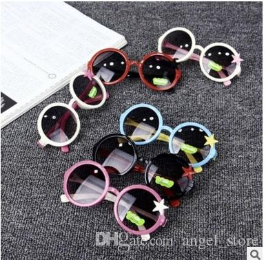 16f0575bce5 Round Frame Five Star Sunglasses Children Glasses UV Protection Boys and  Girls Baby Sunglasses Multiple Colour