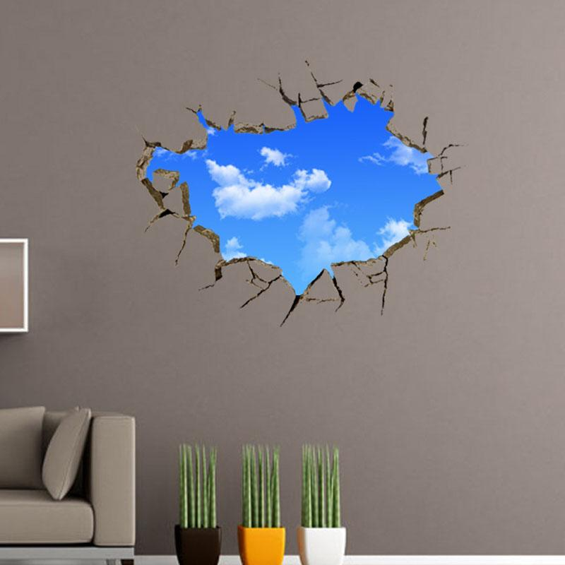 Window Hole Landscape Blue Sky White Cloud 3D Waterproof Wall Sticker Poster Decor for Living Room Bedroom Art Creative Home
