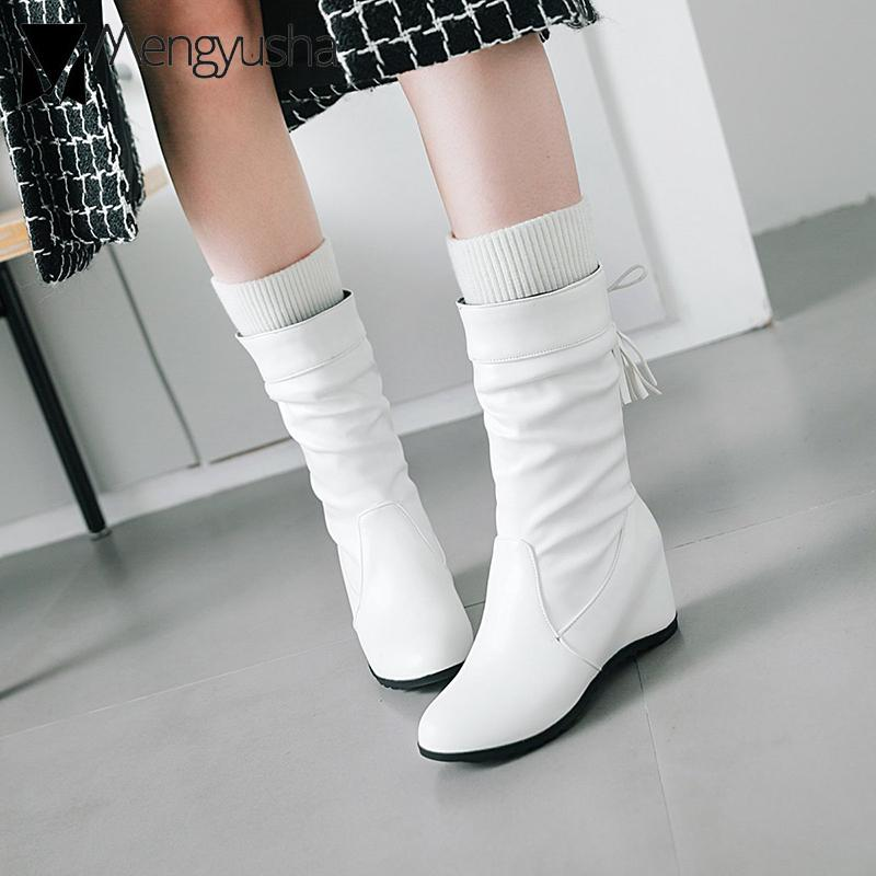 c10f3db903 Patchwork Knitting Leather Short Mid High Bota Cross Tied Fringe High Heels  Boots Women Height Increasing Shoes Big Size Chelsea Boots Shoes Online  From ...