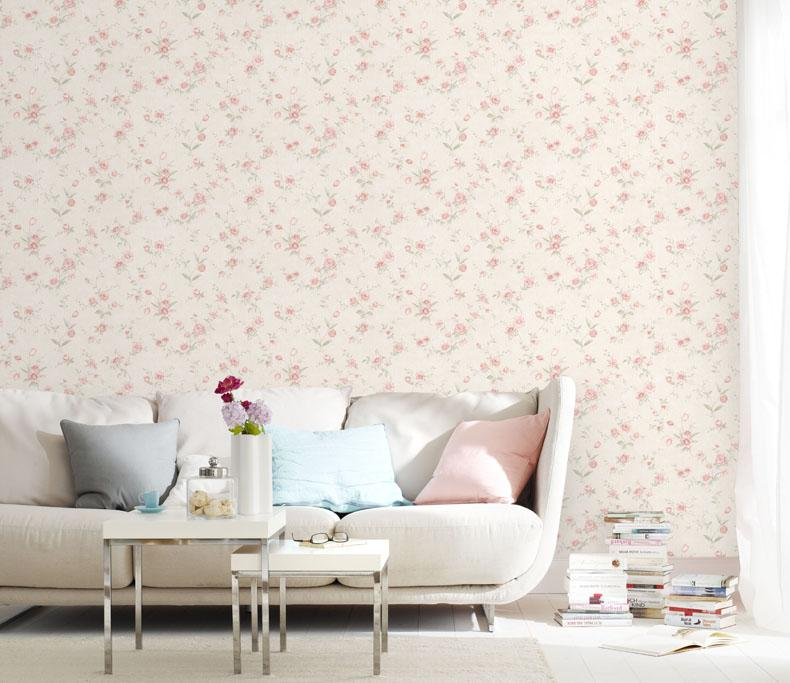 Pastoral Style Pink Flowers Wallpaper Girl Bedroom Background Flower ...