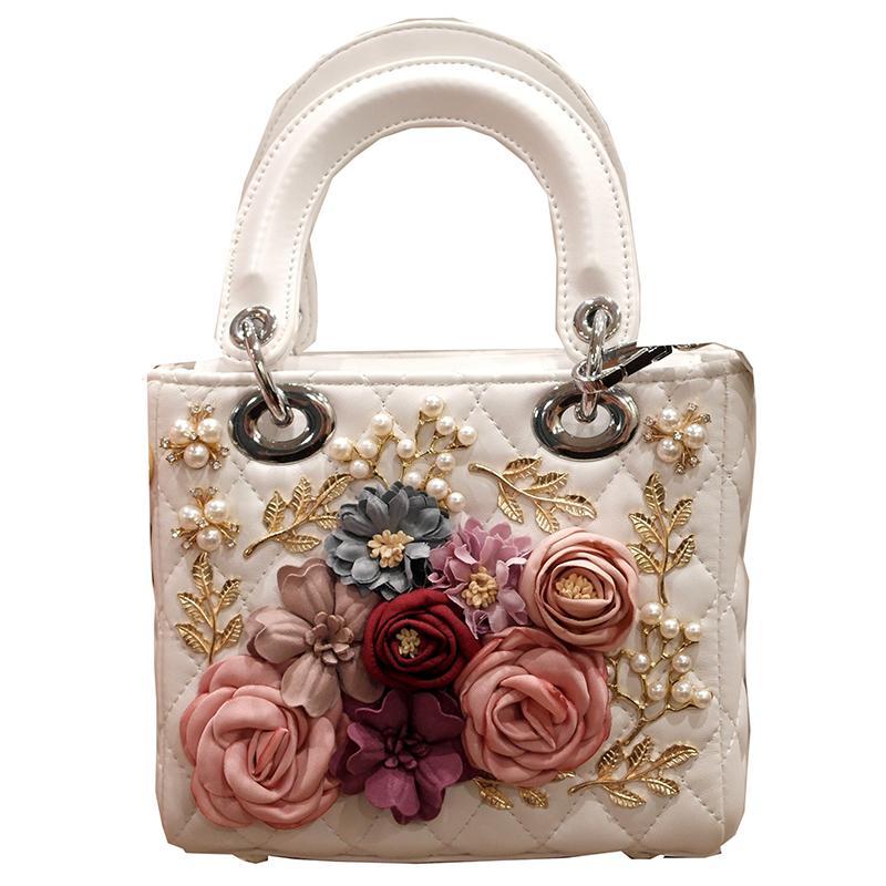 Luxury Handmade Flower Handbag Women Embroidery Beaded Evening Party
