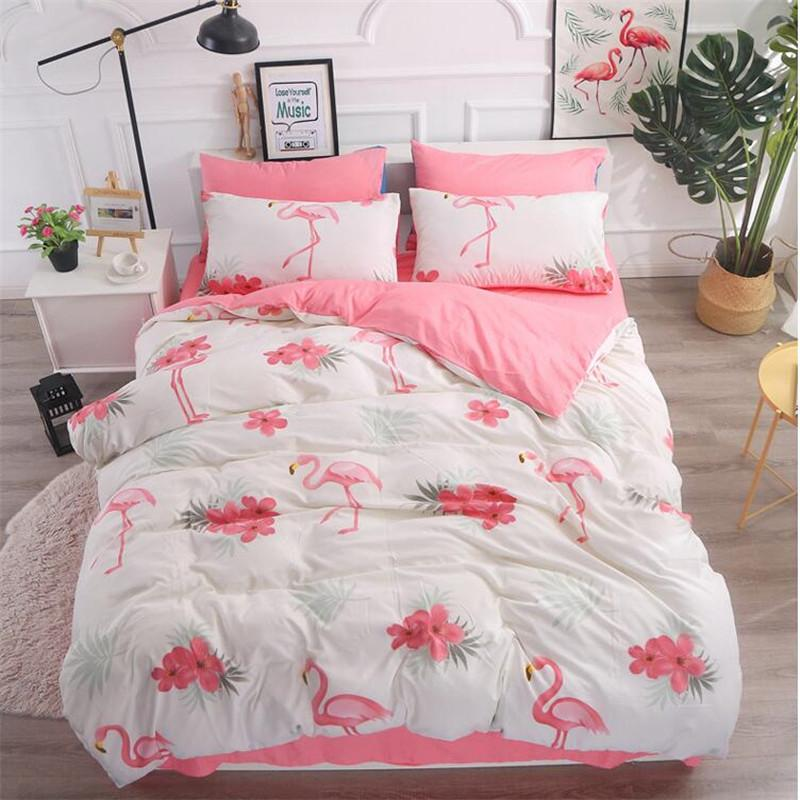 Bedding Set Queen Size Pug Flamingo Duvet Cover Adulte Bed Sheet