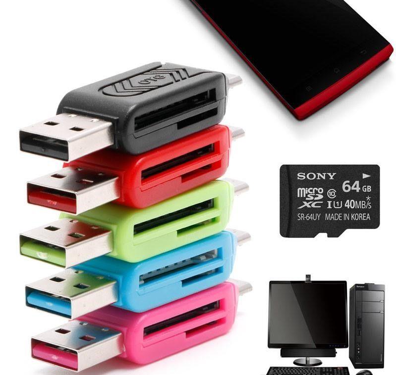PC Android Smartphone için 2-IN-1 Mikro USB 2.0 OTG TF SD SDXC Hafıza Kartı Okuyucu
