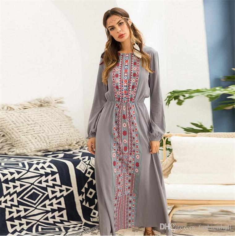2018 Autumn Maxi Dress Long Sleeve Floral Print Bohemian Dresses For