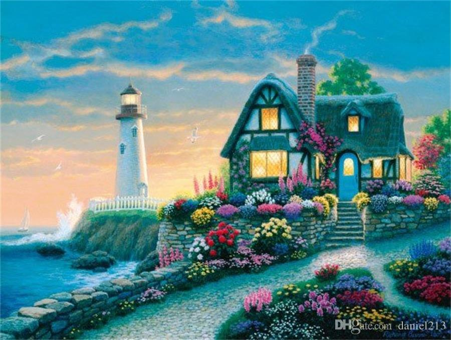 2018 16x20 inches vintage flowers garden house beach lighthouse