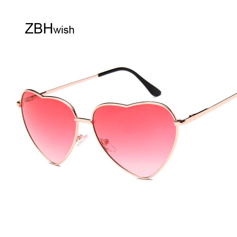 83f7ef6bc3c57 Compre Espelho Coração Óculos De Sol Das Mulheres Designer De Marca Olho De Gato  Óculos De Sol Do Sexo Feminino Retro Amor Em Forma De Coração Óculos De ...
