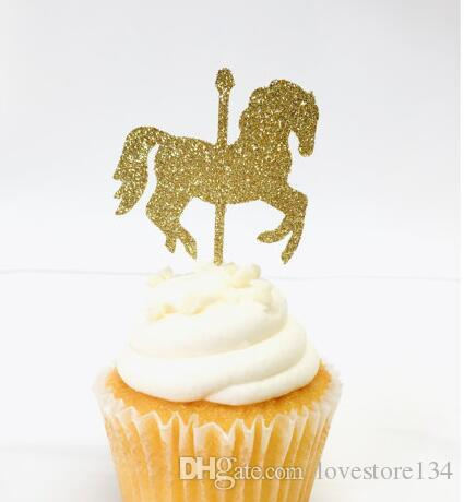 Glitter Carousel Horse Carnival Theme Birthday Cupcake Toppers