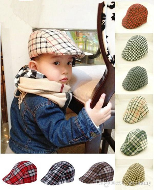 Cute Kids Toddler Flax Cap New Boys Hat Classic Plaid Hat Check Beret Sun Flat  Child Caps England Plaid Beret UK 2019 From Greatamy b47ad7d5f4d
