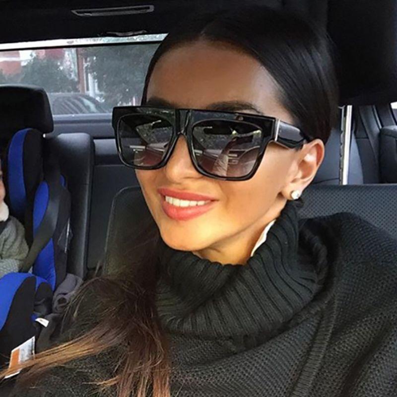 23e04713c CALIFIT Black Rivet Flat Top Frame Sunglasses Men Gradient Lens Shades  Square Sunglasses Women UV400 Female Oculos High Quality Sunglasses Women  Uv400 ...