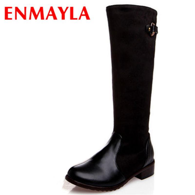 1452811c7c0 ENMAYLA New Women Boots Zipper Platform Knee High Boots Women Low Heels  Motorcycle Boot Warm Shoes Long Plus Size 47 Skechers Boots Mid Calf Boots  From ...