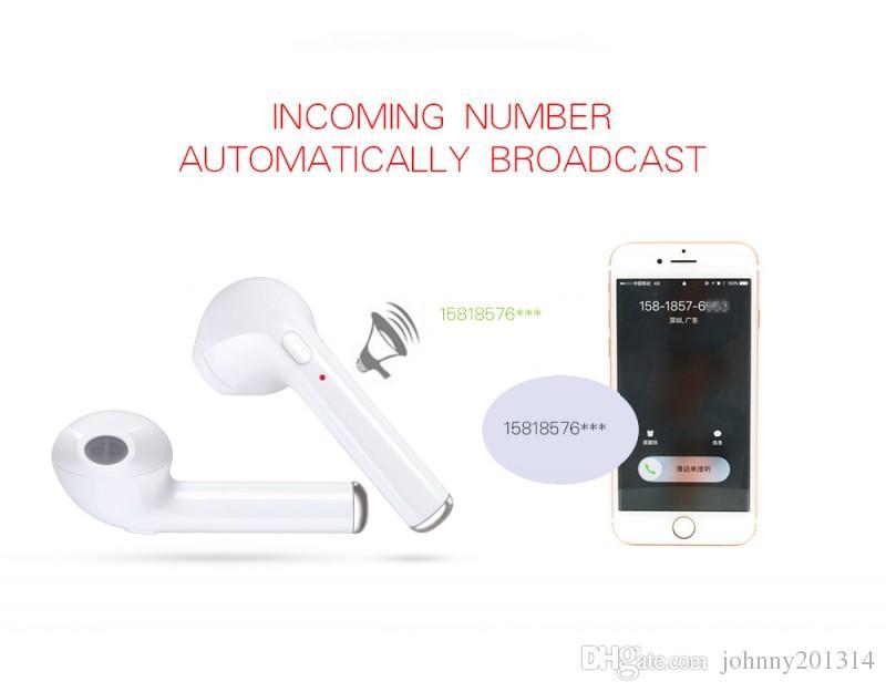 I7 TWS Fones De Ouvido Bluetooth Com Cabo De Carga Mic Mini Gêmeos Fones De Ouvido Sem Fio Fones De Ouvido Para Fone De Ouvido De Motorista Retail Box Melhor HBQ